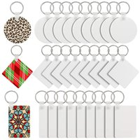 Cell Phone Straps Sublimation Blank Keychain Heat Transfer Double-Side Printed MDF DIY with Key Rings