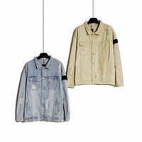 Дизайнерская каменная куртка мужская повседневная остроумие хлопчатобумажная рубашка мужчины ветровка женщин пальто значок разорванные джинсовые мытья куртки модные пальто любовника верхняя одежда R3VI #