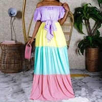 African Long Maxi Dress Womens Colorful Slash Neck Off The Shoulder Backless Daily Evening Party Dresses For Women Ethnic Clothing