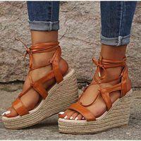Las sandalias de la cuña de la cáñamo de las mujeres del cáñamo de la cuña del tobillo del tobillo de las damas de la plataforma de las damas de la moda de los zapatos de verano de la moda de los zapatos de verano de la moda de la mujer 210619 8tsfyu2e