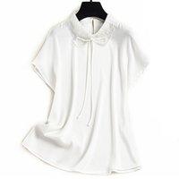 100% Silk Women's Shirt Peter Pan Collar Beaded Elegant Pullover Blouse Tops