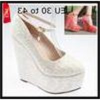 Extra EU30 Plus TO 43 Size Women's Shoes 2 Colors Red White Embroidery Lace Popular Dreamy Wedding Shoes 15CM High Wedges Shoes