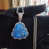 14k Oro helado Out Buddha Colgante Collar Bling Micro Pave Cubic Zirconia Diamantes Simulados con 3mm 24 pulgadas Cadena de tenis 166 R2