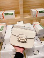 Original 2021 Moda Bag Mulheres Designer 100% Bolsa de Couro Genuíno 1955 Horsebit Saddle Tofu Buckle Bolsas de Ombro Messenger Jewelry Caixa