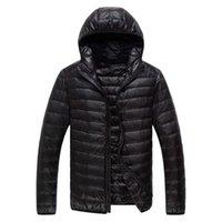 Winter Men Ultralight Thin Down Jacket White Duck Hooded Jackets Long Sleeve Warm Coat Parka Solid Portable Outwear