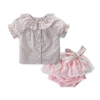 Baby Girls Clothing Sets Summer Infant Outfits Floral Print Tops +Lace Panties With Big Bow 2pcs set Kids Clothes 0-3Y