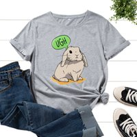 Fashion all-match Bunny T-shirts Easter Animal Lover Women's Graphic Printed Cotton Tees Short Sleeve Tees Shirt Summer Tops Clothes