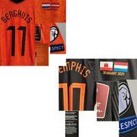 American College Futebol Wear 2021 Jogador desgastado Berghuis F.De Jong de Ligt Virgil Wijnaldum com MatchDetail Shirt