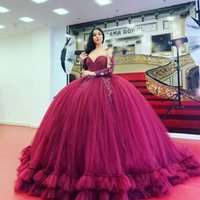 Burgundy Quinceanera Dresses Crystals Jewel Neck Beaded Long Sleeves Lace Applique Illusion Custom Made Sweet 16 Party Princess Prom Ball Gown vestidos