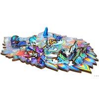 لغز خشبي بانوراما الهدايا الإبداعية للأطفال 8 أنماط شكل فريد بانوراما أجزاء حراسة التنين a4 الألغاز HWF5759