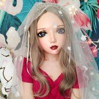 Festa Máscaras (Er-09) Feminina Menina Doce Resina Meia Cabeça Kigurumi BJD Eyes Crossdress Cosplay Japonês Anime Função Lolita Máscara com orelha de fada