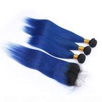 Paquetes de pelo humano de Ombre azul oscuro de Ombre con cierre superior 4pcs lote recto # 1b, cierre de encaje de ombre ombre azul 4x4 con extensiones de trama de tejidos