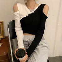 Women's T-Shirt Spring Autumn O-neck Patchwork Off Shoulder T Shirt Korean Slim Long Sleeve Crop Tops Women Clothing Ins Hipster Tees Female