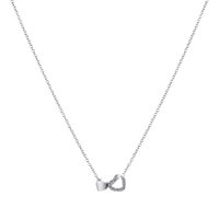 New Female Fashion Crystal Double Heart Necklaces Pendants Short Silver Chain Pendant Necklace Charm Gifts Girlfriends 52440