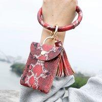 Keyring Women Card Snake PU Leather Tassel Purse Ring Bangle Bracelet OuP4 Circle Girls Keychain Keyrings Wristlet Wallet With Key Dmrcm