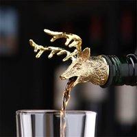 Çinko Alaşım Dökme Şarap Stoper 3D Geyik Bagaj Kafası Plastik Pourer Borulu Şişe Tıpaları Şarap Havalandırıcılar Şampanya Bar Araçları Hediyeler