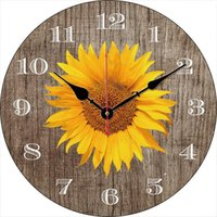 Wall Watches Clock Vintage Inspired Sunflowers Kitchen Flower Family Alway Coffee Shop Silent Battery Horloge Clocks