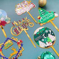 Suministros de fiesta Feliz Navidad Serial Serial Feliz Cumpleaños Topper Tarjeta de decoración Acrílico Toppers Decoración NHA8070