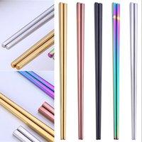 젓가락 304 스테인레스 스틸 젓가락 젓가락 광택 광택 실버 골드 로즈 골드 블랙 레인보우 도매 226 V2