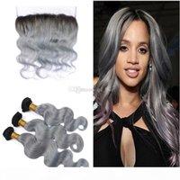 Orelha de raízes escuras para orelha Frontal de renda completa com cor ombre brasileiro 1b onda corporal cinza pacotes de cabelo humano com laço frontal 13x4