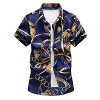 Camisas casuales para hombres HCXY Brand Mens de manga corta impresa de manga corta de manga corta para hombres Talla grande 6xl 7xl flor macho 20 colores