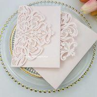 Light Pink Sweetheart Invitaciones de boda DIY Tarjetas de invitación de corte con láser con RSVP para la ducha nupcial quinceañera invitaciones