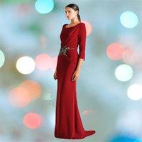 Red Carpet Dress Mermaid Jewel Half Sleeve Elastic Satin Prom Gowns Long Ruffle Evening Party Dresses