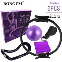 Direnç Bantları 6 adet Pilates Daire Yoga Topu Sihirli Fitness Ekipmanları Egzersiz Eğitim Destek Aracı Elastik Bant Spor Salonu