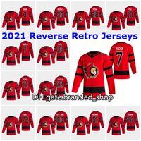 2021 Reverse Retro Ottawa Senators Jerseys 29 Cody Goloubef Jersey 81 Ron Hainsey 22 Nikita Zaitsev 31 Anders Nilsson Mens 맞춤형 스티치