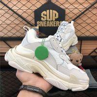DHL Топ-качество Трехместный мода 17FW Трехместный кроссовки для мужчин Женщины Черный Красный Белый Зеленый Случайные Папа Обувь Tennis Lesliecheung