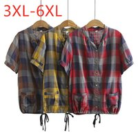 Women's Blouses & Shirts 2021 Summer Plus Size Tops For Women Large Blouse Short Sleeve Casual Loose Cotton Pocket Plaid Shirt Red 3XL 4XL 5
