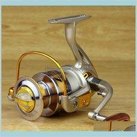 Прибытие Улучшенное Yumoshi 12BB Открытый Спиннинг Рыболовные катушки Металлические Рокеры Руководства Спиннинг Барабаны Рыболовные Шеречие Оптом HEC5D N8XLZ