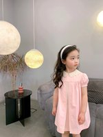 2021 Baby Girls Dress Summer Kids Girl Pink Dresses Summer Fashion Turn Collar children Clothing