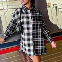 Casual Dresses 4# Plaid Patchwork Shirt Dress Long Sleeve Lapel Tunic Mini Woman Open Front Button Female Wrap Hip Vestidos