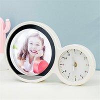 LED Makeup Mirror Sublimation Magic Mirrors With Alarm Clock Table Lamp Creative DIY Photos Christmas Party Gift