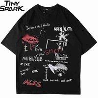 남성 T 셔츠 힙합 여름 가로복 낙서 눈 티셔츠 하라주쿠 짧은 소매 티셔츠 코튼 탑 티셔츠 힙 스터 블랙 새로운 210329