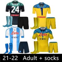 Kit adulte + chaussettes 20 21 22 Napoli Soccer Jersey Home 2021 2122 Naples Zielinski Maradona Insigne Mertens Callejon Joueur RPG Chemises de football