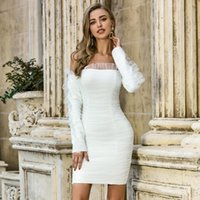 Casual Dresses Winter Fashion Sexy Off Shoulder Long Sleeve Mesh Ruched White Bodycon Women Bandage Dress Elegant Evening Party Vestido