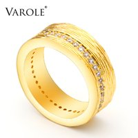 VAROLE Minimalist Bump Texture with CZ Ring Geometric Gold Color Rings For Women Fashion Jewelry Accessories Anillos Mujer