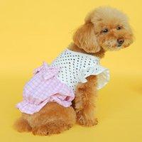 Köpek Elbise Ilmek Ekose Hollow Fırfır Kedi Elbiseleri Doğum Günü Düğün Pet Yavru Prenses Giysileri Küçük / Orta Köpekler ve Kediler Giyim