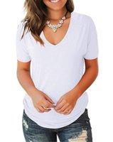 Boyun Kısa Kollu Bayan Tişörtleri Yaz Ince Rahat Seksi Bayanlar Tasarımcı Tops Kadın Tees Katı Renk V