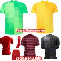 21-22 Goalkeeper Jogador Versão Futebol Jerseys Top Thai Qualidade Homens + Crianças Uniforme Personalizar Jogo Vermelho e Preto De Futebol