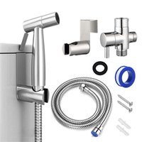 Manual Toilet Bidet Sprayer Set Stainless Steel Bathroom Faucet Spray Shower Self-cleaning Accessorie Bath Accessory