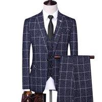 Men's Suits & Blazers (Jacket+Vest+Pants) Men 's Slim Fit Business Suit Male Plaid Linen 3 Pieces Mens Tuxedos Groom Wedding