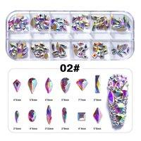 120 adet Çoklu Şekiller Cam Kristal AB Rhinestones Nail Art Craft Mix 12 Stil Flatback Elmas 3D Süslemeleri Aksesuar NAR014