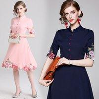 Wxw goodman diseña otoño nuevo palacio estilo pesado industria bordado delgado vestido de ajuste