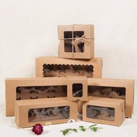Gift Wrap Large Brown Muffin Packaging 6 Cupcake Boxes 8,Kraft Paper Cake Box With Pvc Window, 4 Packing Craft