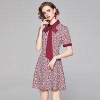 럭셔리 디자이너 활주로 활 드레스 긴 소매 여성 인쇄 슬림 맞는 세련된 A-Line Prom Dresses 우아한 비즈니스 파티 사무실 봄 가을 플러스 사이즈 숙녀 옷