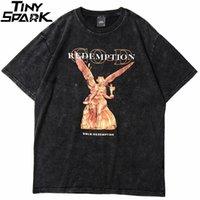 Hip Hop T Shirt Uomo Streetwear Harajuku Lavato Tshirt Reddition Angel Summer Summer T-shirt T-shirt Cotton Mode Top Tee 210319