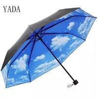 アンブレラヤダ夏の青い空白い雲の模様の折りたたみ雨傘防止抗紫外線防雨日焼け止めパラソル女性YS008